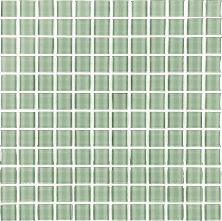"Metro 1"" x 1"" Glossy Green Glass Square Backsplash Mosaic Wall Tile"