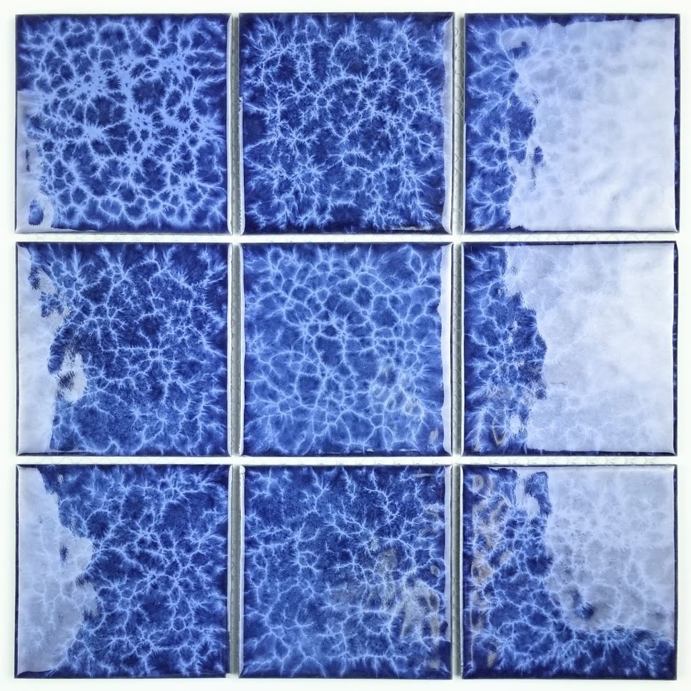 Monet 3.7 in x 3.7 in Porcelain Pool Rated Mosaic in BLUE Glossy