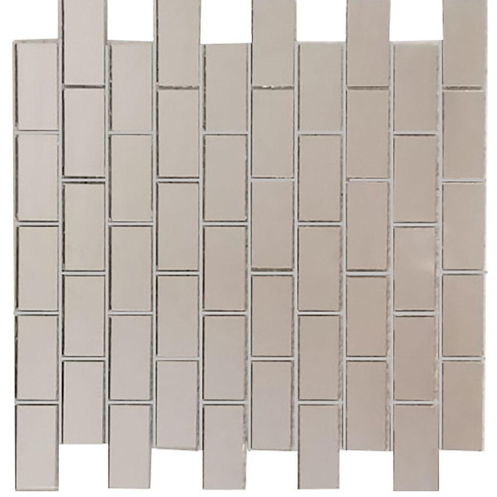 "Musico 1"" x 2"" Glossy Silver Mirror Glass Rectangle Backsplash Mosaic Wall Tile"
