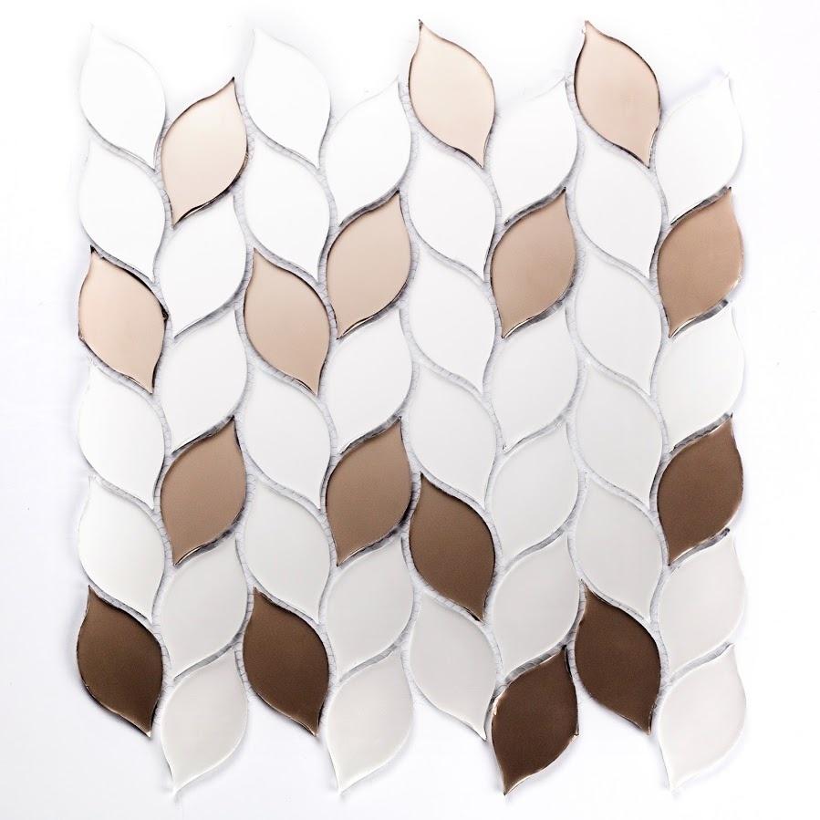 Musico 1.375 in x 2.625 in Glass Leaf Mosaic in SOLEIL Matte