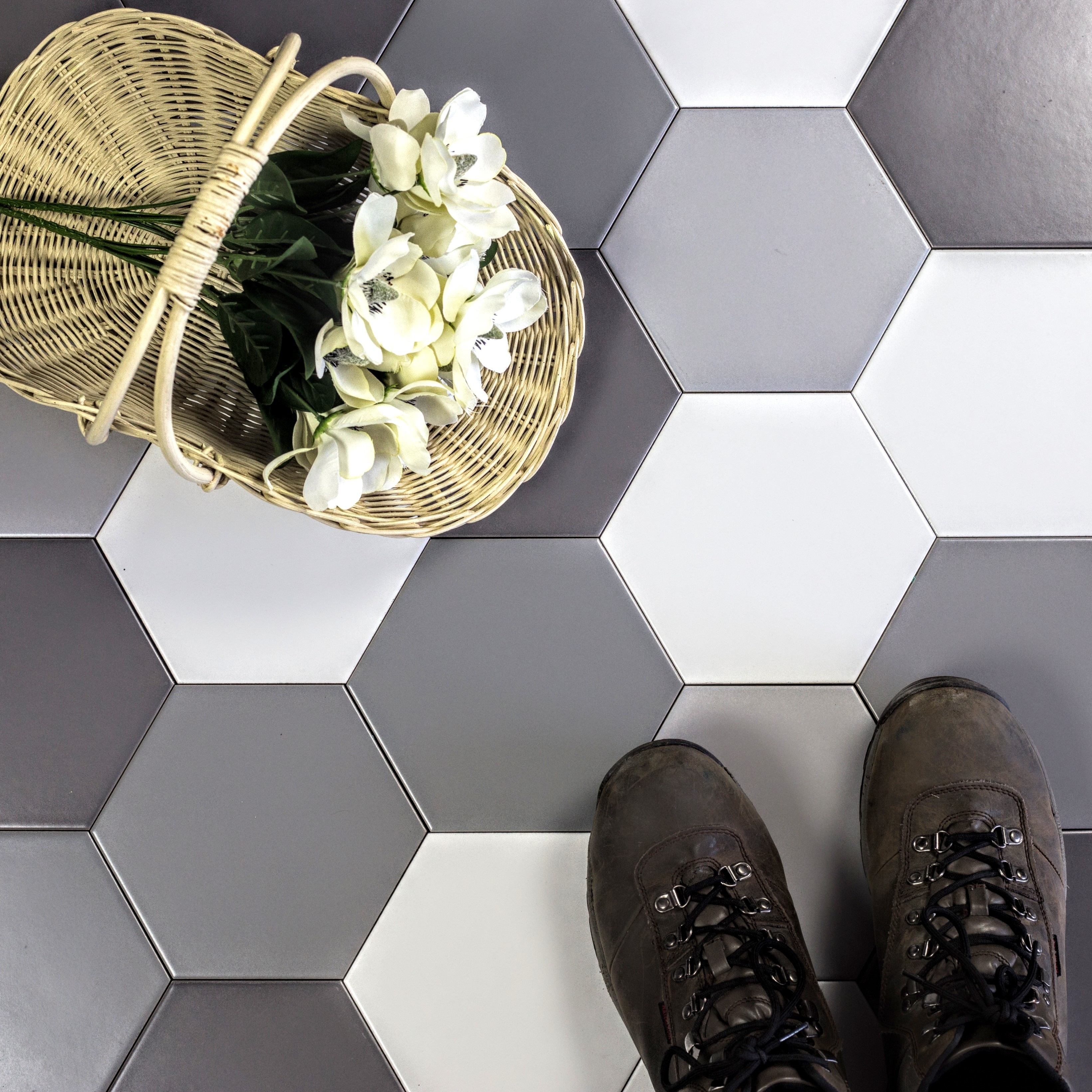 Grand Cement 7 in x 7 in Ceramic Hexagon Tile in GRAY SCALES (FROM WHITE TO DARK GRAY 4 COLORS) Matte