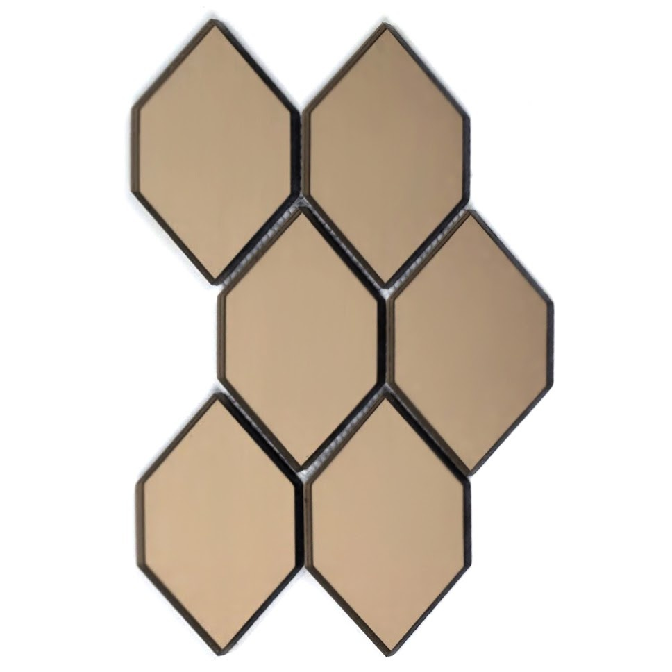 Reflections 3.5 in x 5.125 in Mirror Honeycomb Waterjet Mosaic in GOLD Glossy