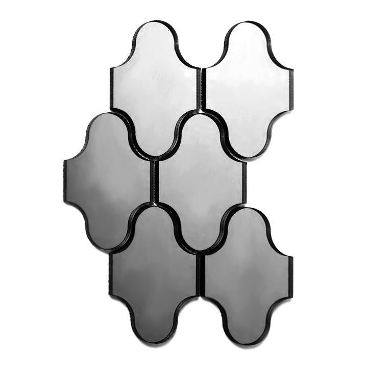 "Reflections 3.5"" x 5.125"" Glossy Silver Mirror Swag Waterjet Backsplash Mosaic Wall Tile"