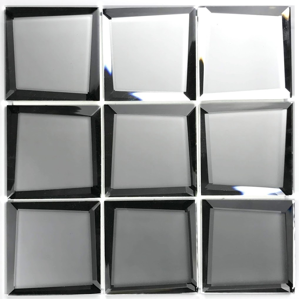 Reflections 3 in x 3 in Mirror Beveled Mosaic in SILVER  Matte