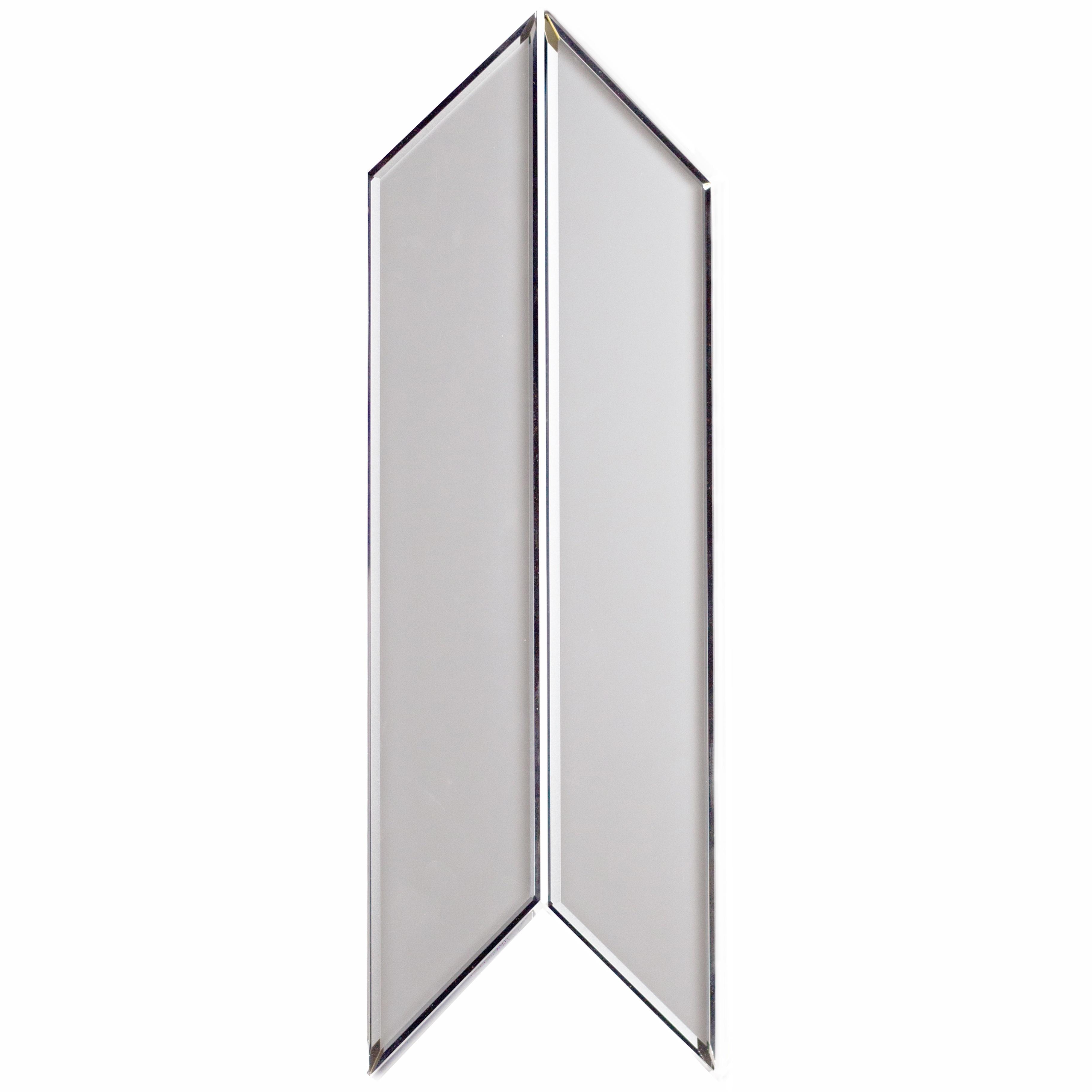 "Reflections 3.75"" x 11.75"" Matte Silver Mirror Diamond Pair Backsplash Wall Tile"