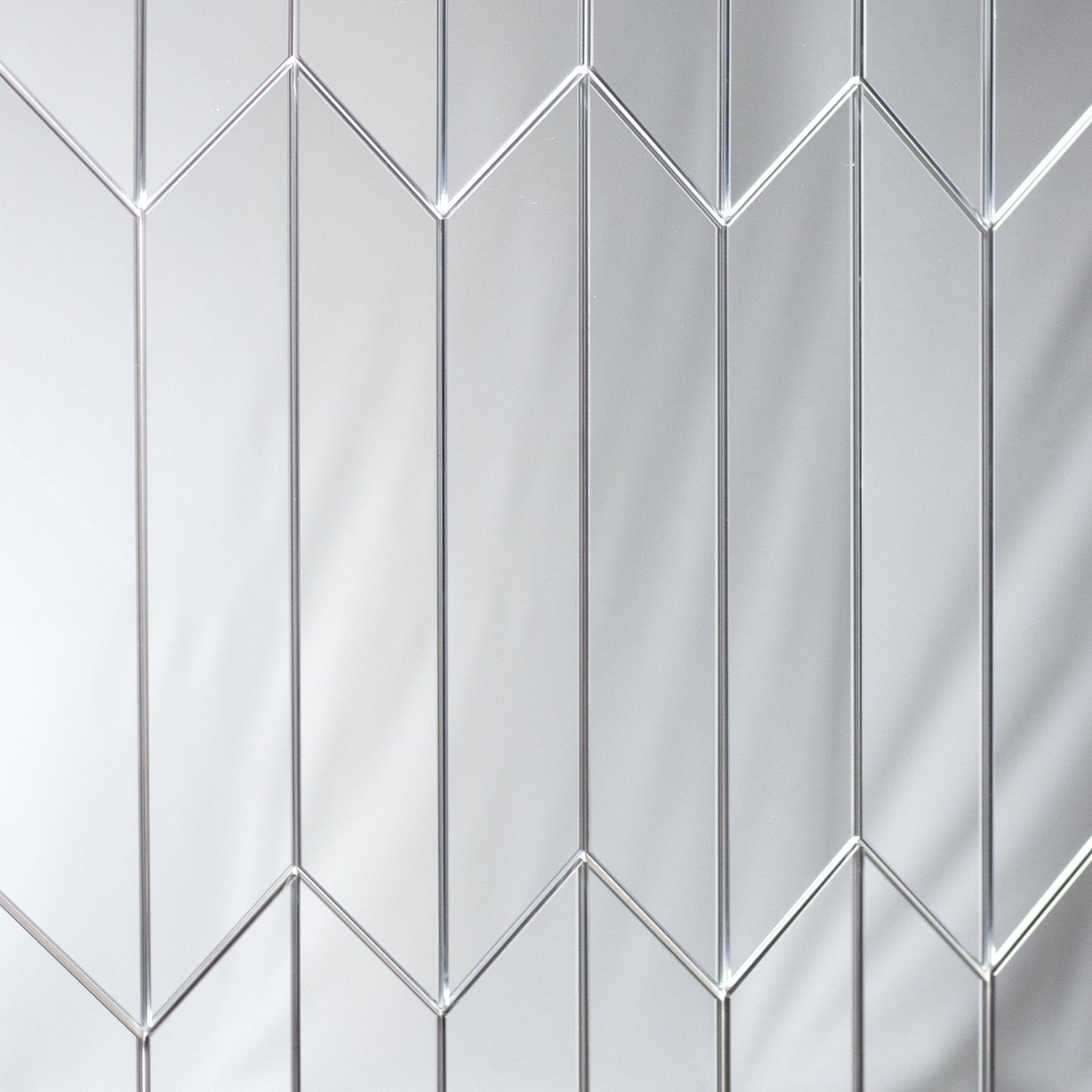 "Reflections 3.75"" x 11.75"" Straight Edge Silver Mirror Diamond Pair Backsplash Wall Tile"