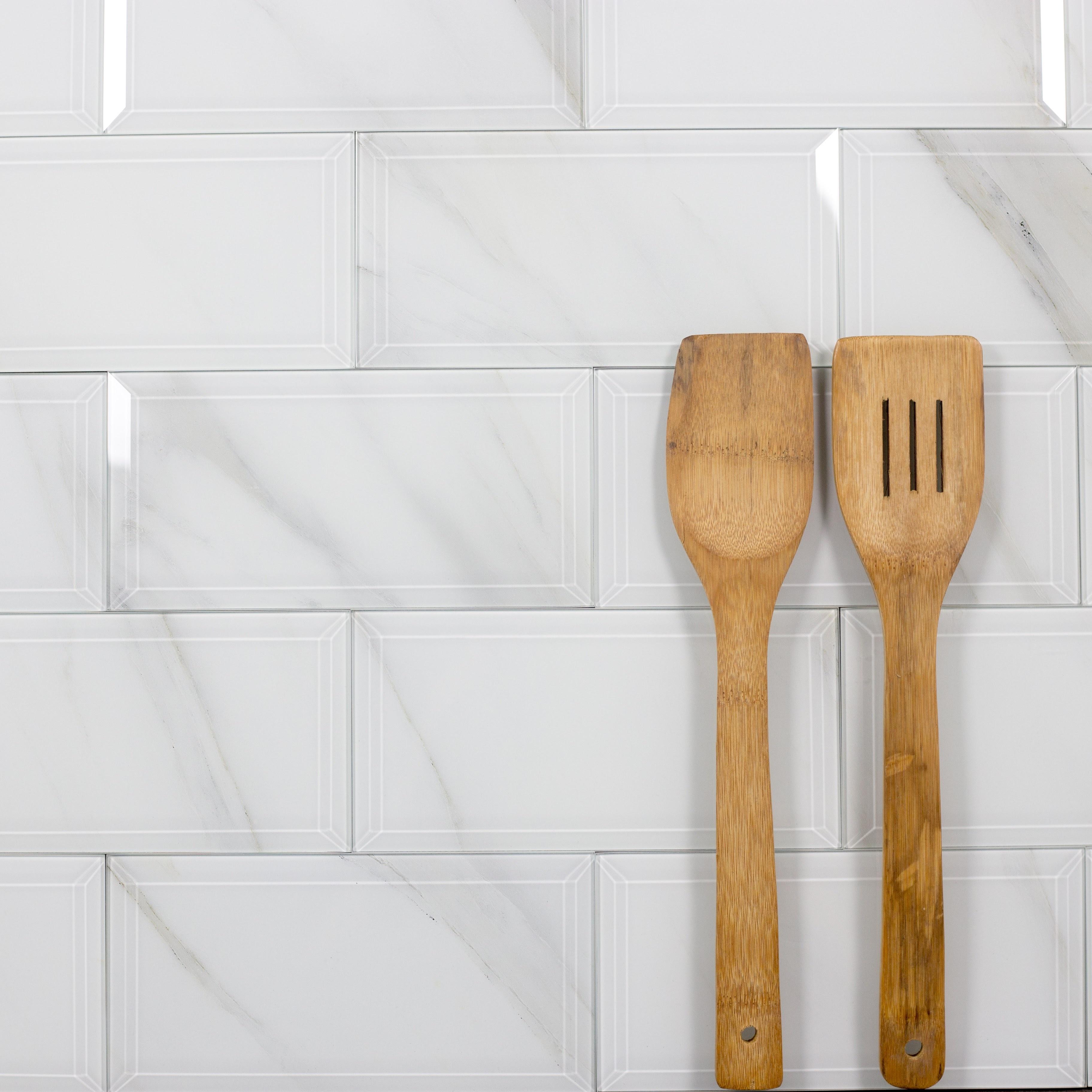 "Nature 4"" x 8"" Beveled Glossy White Glass Subway Backsplash Wall Tile"