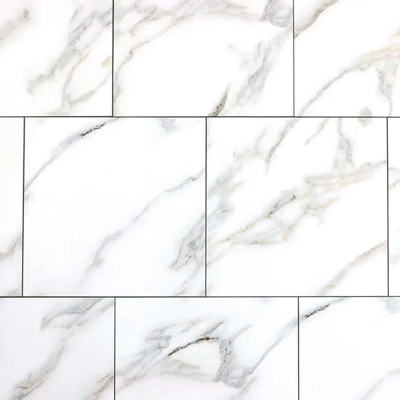 "Nature 8"" x 8"" Glass Marble Look Tile in Calacatta Gold"