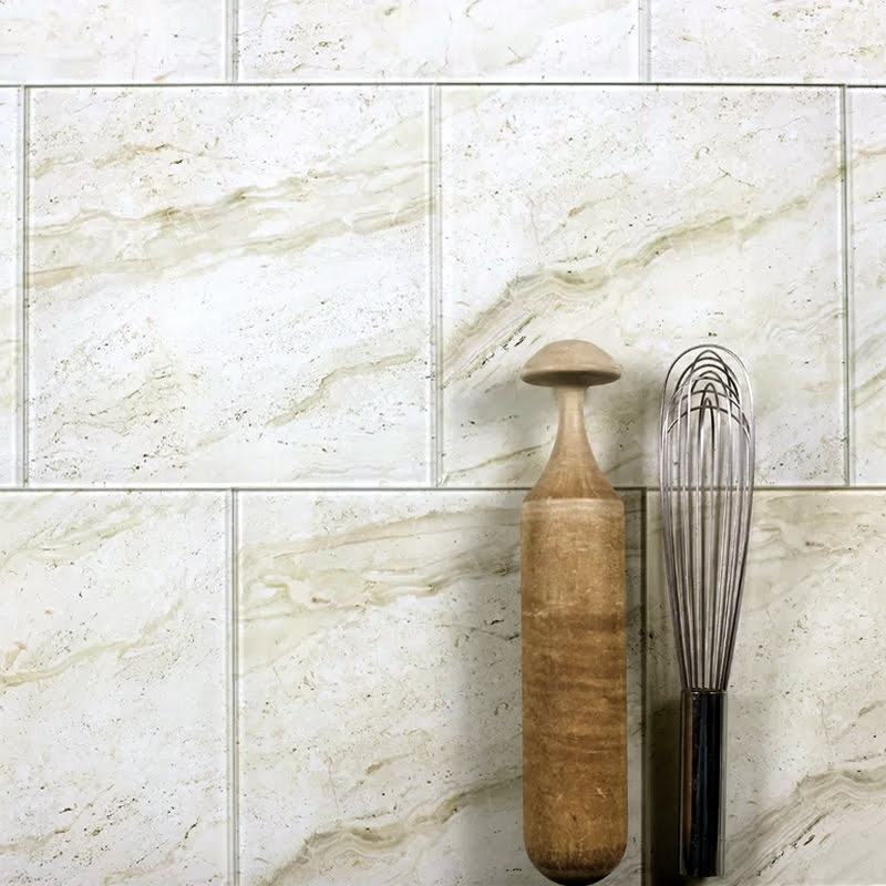 Nature 8 in x 8 in Glass Field Tile in CREMA MARFIL Glossy