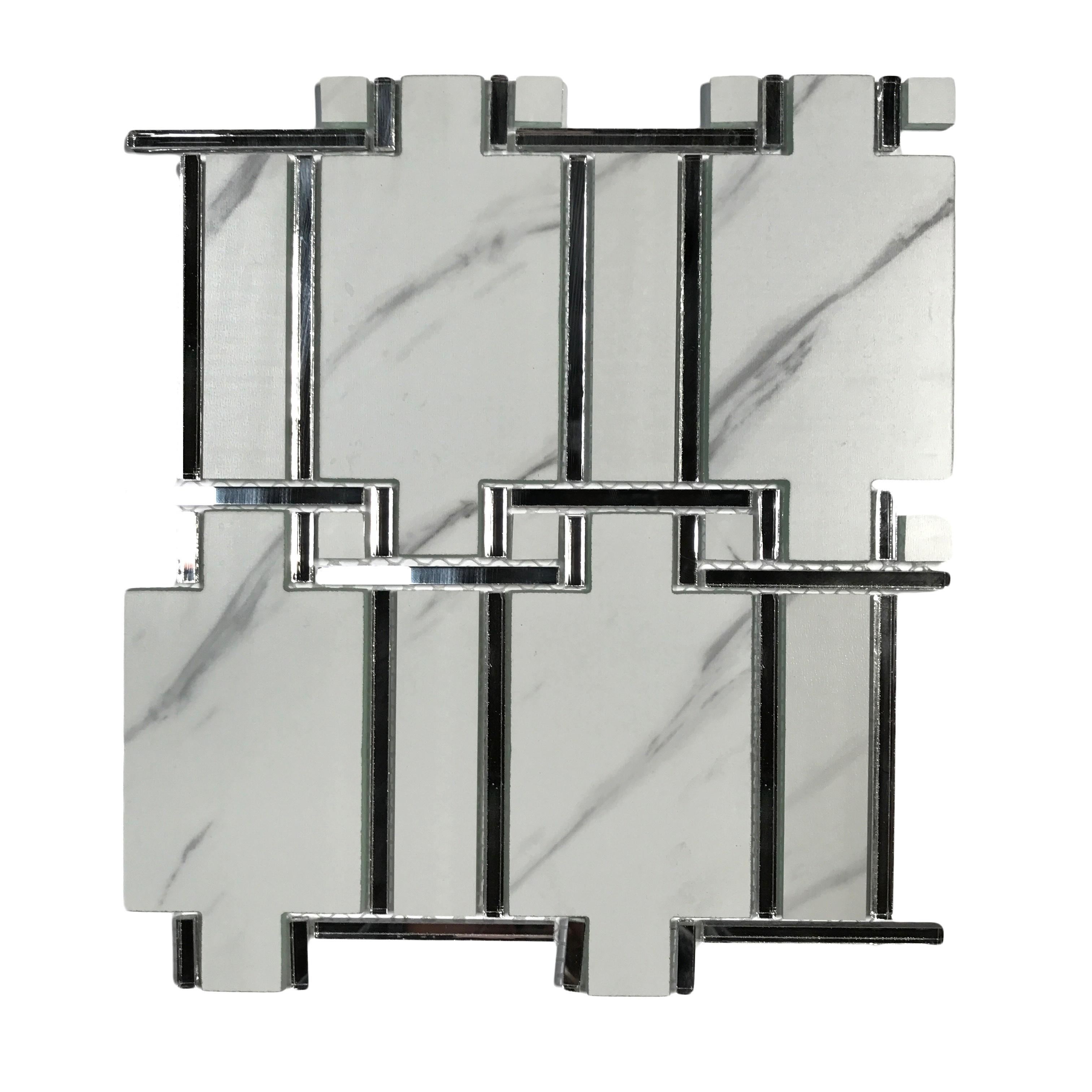 "Nature 6"" x 6"" Textured White Glass Waterjet Backsplash Mosaic Wall Tile"