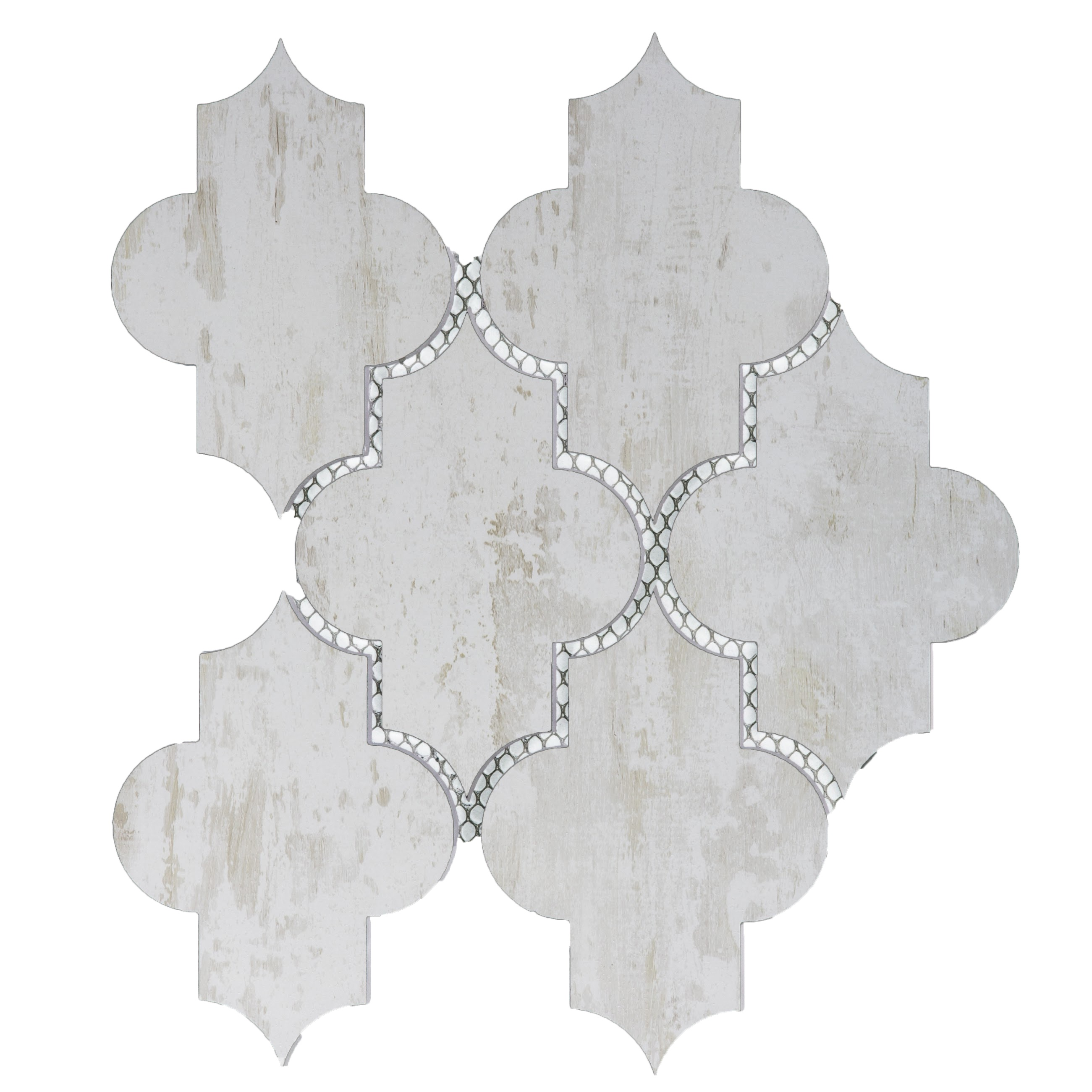 Nature Small Lantern Glass Wood Look Tile in Birchwood White