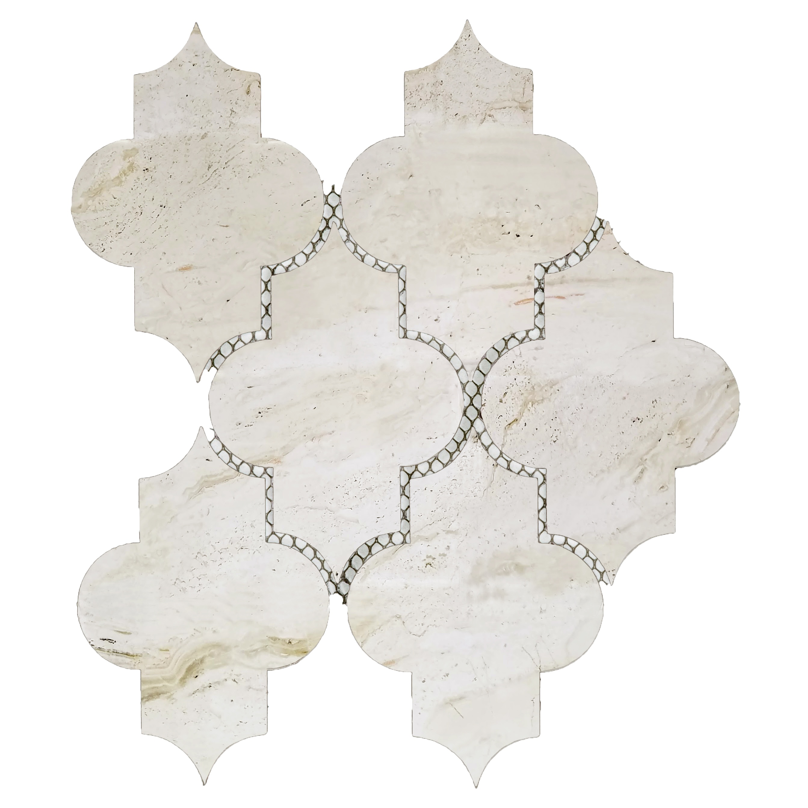 Nature 4 in x 5.5 in Glass Small Lantern Mosaic in CREMA MARFIL Glossy