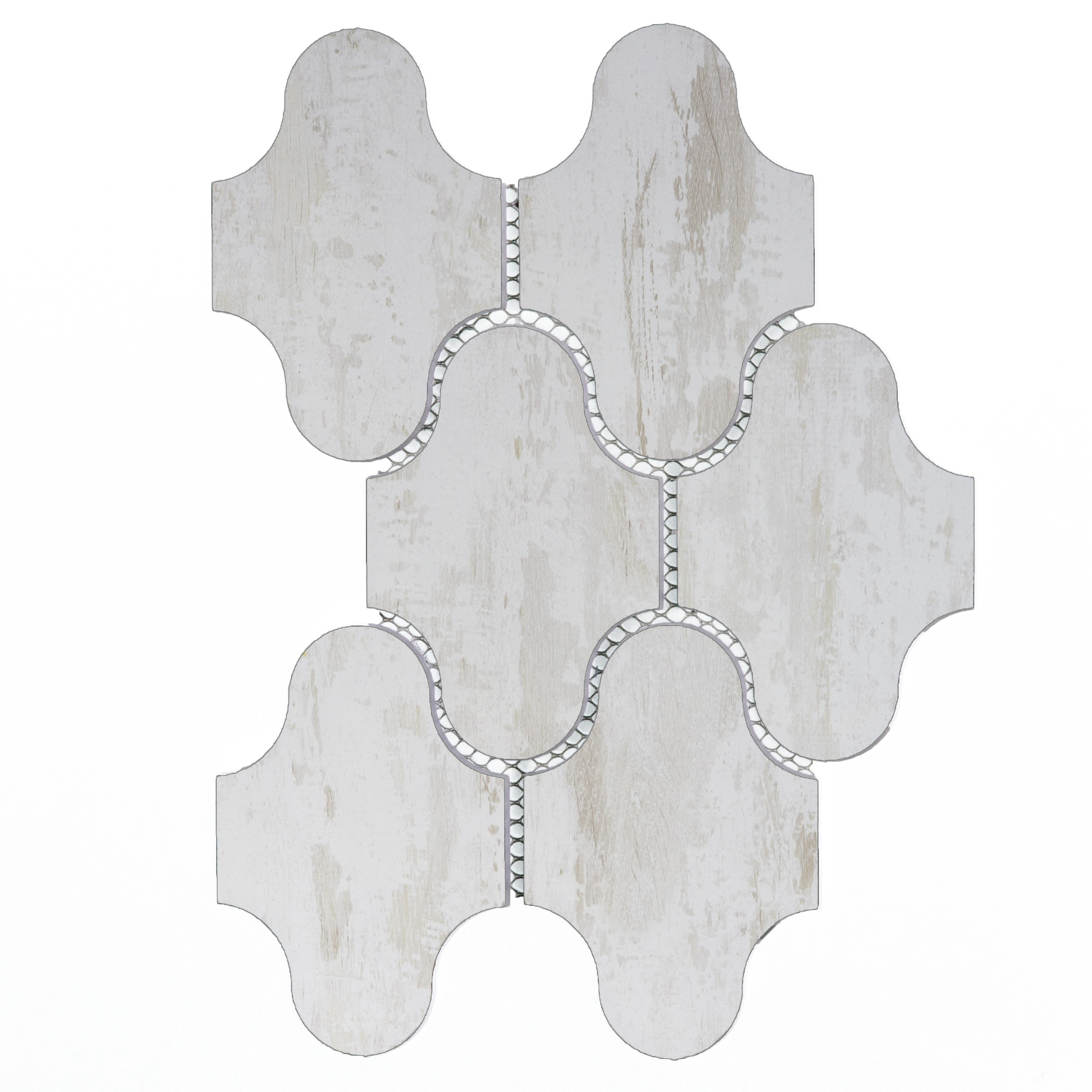 Nature 3.5 in x 5.125 in Glass Swag Waterjet Mosaic in BIRCHWOOD WHITE Matte